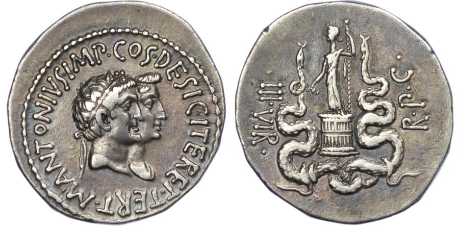 Ancient Coins - Mark Antony and Octavia, Silver Cistophorus