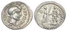 Ancient Coins - Pompeius Magnus and M. Poblicius, AR Denarius. Scarce. Extremely Fine.