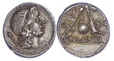Ancient Coins - Roman Republic, Cn. Lentulus, Silver Denarius