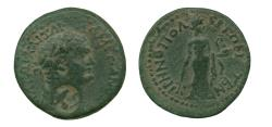 Ancient Coins - Domitian (81-96) AE Assarion, Irenopolis. Very Fine. Nice Patina. Countermark of Asclepius