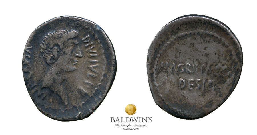 Ancient Coins - Octavian and Agrippa Denarius. Scarce. Moving Mint in Southern Italy. c.38 BC.