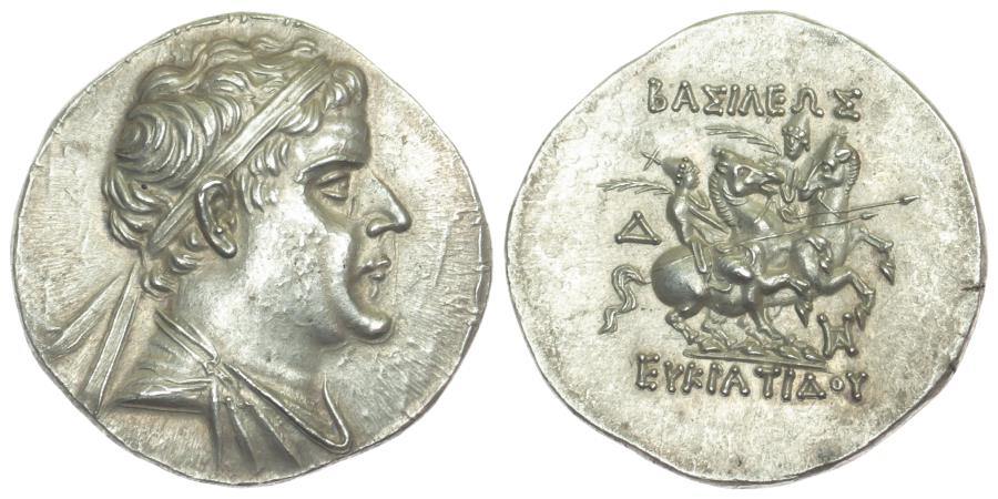 Ancient Coins - Kingdom of Baktria, Eukratides I, Silver Tetradrachm