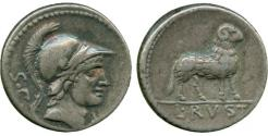 Ancient Coins - L. Rustius (76 BC) AR Denarius. Ram standing right.