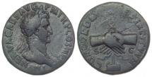 Ancient Coins - Nerva (96-98) AE Sestertius, Rome. Clasped Hands type. Scarce.