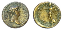 Ancient Coins - Nero, with Poppaea. IONIA, Smyrna. AE 17 mm, Struck circa AD 62-65