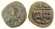 Ancient Coins - BYZANTINE, Anonymous. AE follis (1028-1034 AD?). Christ facing / Inscription set on cross