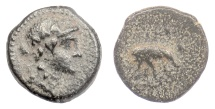 Ancient Coins - SELEUKID KINGS, Antiochos III 'the Great'. AE denomination C. Apollo / Elephant