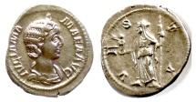 Ancient Coins - Julia Mamaea. AR Denarius. Rome mint, struck AD 226. Vesta