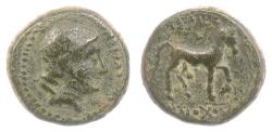 Ancient Coins - SELEUKID, Antiochos III 'the Great'. AE Denom C, 222-187 BCE. Apollo / Horse. Scarce