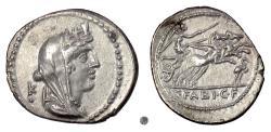 Ancient Coins - Roman Republic. AR denarius, C. Fabius C.f. Hadrianus, Rome mint, 102 BC. Cybele / Victory driving biga