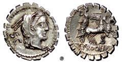 Ancient Coins - Roman Republic, L. Procilius.  AR Denarius, Rome mint, 80 BC.  Juno / Juno driving biga