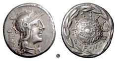 Ancient Coins - Roman Republic, Caecilius Metellus.  AR Denarius, Rome mint, 127 BC. Roma / Shield with elephant's head