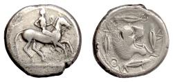 Ancient Coins - SICILY, Leontini. AR Didrachm, circa 476-466 BC. Horseman / roaring lion. Scarce