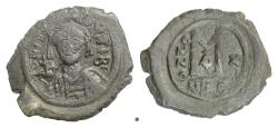 Ancient Coins - BYZANTINE, Maurice Tiberius. 582-602. AE Follis. Nicomedia mint, dated RY 10 (591/2).