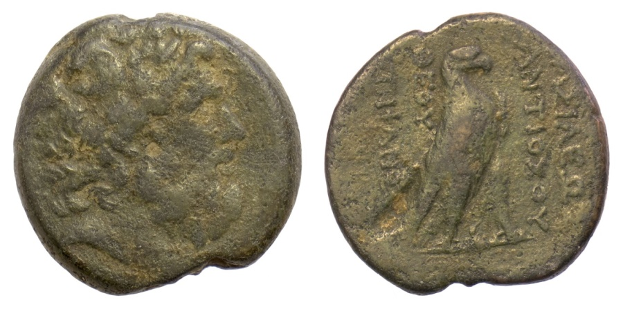 Ancient Coins - SELEUKID KINGS of SYRIA, Antiochos IV Epiphanes. AE denomination AA, Antioch on the Orontes mint. Struck 169-168 BC. Serapis / Eagle