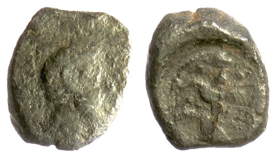 Ancient Coins - Kyrenaika, Kyrene. AE 1/4 unit, 323-313 BC. Apollo / Silphium plant