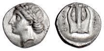 Ancient Coins - IONIA, Kolophon. AR Diobol. Straton, magistrate, circa 330-294 BC