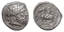 Ancient Coins - MACEDON, Philip II. AR Tetradrachm. Amphipolis mint. Struck circa 355-348 BC