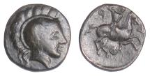 Ancient Coins - THESSALY, Pharsalos. AE chalkous, 4th-3rd centuries BC. Athena / Warrior