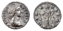 Ancient Coins - Faustina Junior. AR denarius, Rome mint. Struck under Aurelius and Verus, circa 161-164 AD. Hilaritas