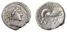 Ancient Coins - CELTIC, The Cenomani, late 2nd-1st c. BC. Imitating Massalia. Artemis / lion