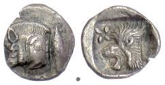 Ancient Coins - MYSIA, Kyzikos. AR Hemiobol, circa 450-400 BC. Boar with Tunny / Lion head
