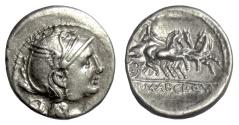 Ancient Coins - Roman Republic, Appius Claudius Pulcher. AR denarius. Rome mint, 111-110 BC. Victory driving triga