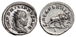 Ancient Coins - Philip I. AR Antoninianus, Secular Games issue. Rome mint, 248 AD. Lion