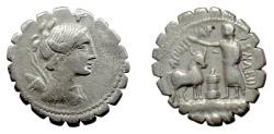 Ancient Coins - Roman Republic, AR serrate denarius. A. Postumius A.f. Sp.n. Albinus, Rome mint, 81 BC