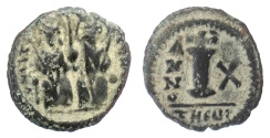 Ancient Coins - BYZANTINE, Justin II, with Sophia. AE Decanummium, Antioch, dated RY 10 (574/5 AD)
