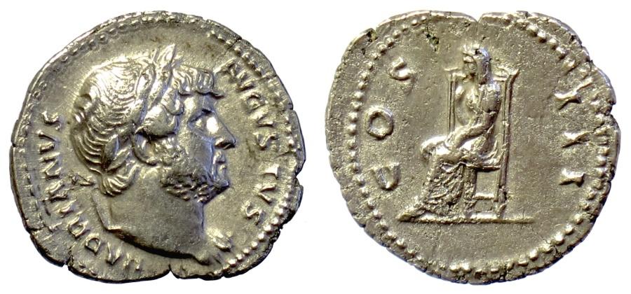 Ancient Coins - Hadrian. AR denariius. Rome mint. Struck circa AD 125-128. Pudicitia