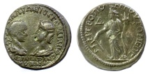 Ancient Coins - Gordian III, with Tranquillina. MOESIA INFERIOR, Tomis. AE tetrassarion, AD 238-244. Tyche