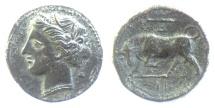 Ancient Coins - SICILY, Syracuse. Hieron II. AE 20. Struck circa 275-269 BC. Persepone / Butting bull