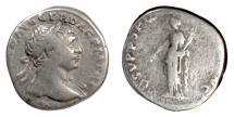 Ancient Coins - Trajan. AR denarius, Rome mint, 108 AD. Aequitas
