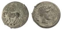 Ancient Coins - SICILY, Gela. AE Tetras, circa 420-405 BC. Bull / Head of Gelas