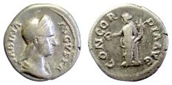 Ancient Coins - Sabina. AR denarius. Rome mint, circa AD 134-136