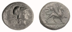 Ancient Coins - IONIA, Phokaia. AE 18, late 2nd-early 1st century BC.  Athena / Griffin. Scarce