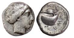 Ancient Coins - CAMPANIA, Cumae. AR didrachm, circa 420-385 BC. Female head / Mussel shell. RARE