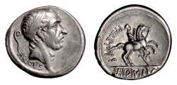 Ancient Coins - Roman Republic, L. Marcius Philippus. AR Denarius, Rome mint, 57 BC