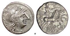Ancient Coins - Roman Republic, P. Calpurnius. AR denarius, Rome mint, 133 BC. Roma / Venus on biga