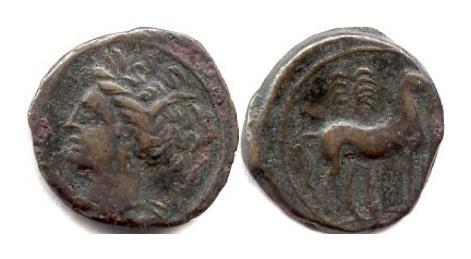 Ancient Coins - CARTHAGE. AE 16, Sicilian mint, circa 400-350 BC