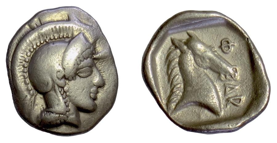 Ancient Coins - THESSALY, Pharsalos. AR hemidrachm, mid-late 5th century BC. Athena / Horse