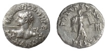Ancient Coins - Indo-Greek, Menander I Soter. AR drachm, circa 155-130 BC. Heroic Menander/Athena