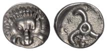 Ancient Coins - LYCIA, Perikles. AR Third Stater, circa 380-360 BC. Lion scalp / Triskeles