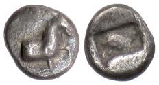 Ancient Coins - Uncertain Thraco-Macedonian? AR diobol, circa 500 BC. Goat / Incuse. Rare