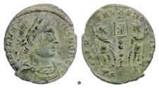 Ancient Coins - Delmatius as Caesar. AE Reduced Follis, Constantina mint 336 AD. Rare variety