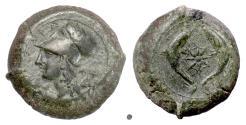 Ancient Coins - SICILY, Syracuse. Dionysios I. AE drachm, 405-367 BC. Athena / Dolphins