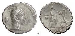 Ancient Coins - Roman Republic, L. Roscius Fabatus. AR serrate denarius, Rome mint, 59 BC.   Juno / Female feeding serpent