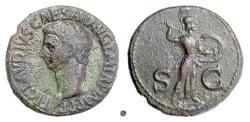 Ancient Coins - CLAUDIUS. AE as, Rome mint, struck 42-43 AD. Minerva
