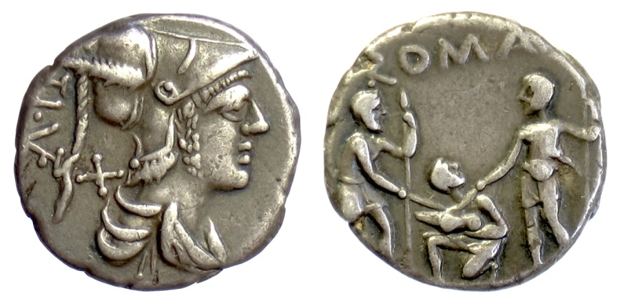 Ancient Coins - Roman Republic, Ti. Veturius. AR denarius. Rome mint, 137 BC. Mars / Youth holding pig, between two soldiers